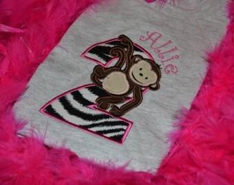 Birthday Monkey applique t-shirt