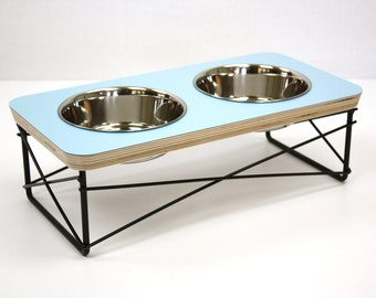 Modern Pet Feeder - Dog Bowl or Cat Bowl Elevated Feeder Mid Century Modern Design Eames Inspired in Blue Color