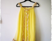 1960s Neon Yellow Babydoll Nightie and Matching Underwear- never worn