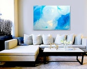 SKYDANCE original abstract modern painting - gallery fine art - contemporary interior design - ooak home wall decor - blue green