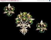 ON SALE EMMONS Rivoli Scallop Rhinestones Flower Brooch With Earrings