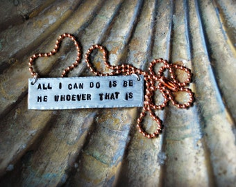 Bob Dylan Quote Bar and Copper Necklace