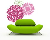 Dahlia and Daisy wall decals - large wall stickers - floral wall decals, peony, mums, dandelion set of 3 flowers