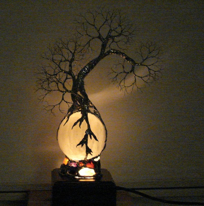 Full Moon Rising Wire Tree Of Life Grove Spirit by CrowsFeathers