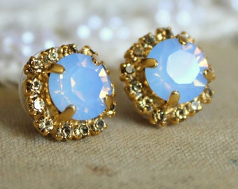 Opal Crystal stud aqua blue earring - 14k plated gold post earrings real swarovski rhinestones, Gold Halo stud earrings, Bridal jewelry
