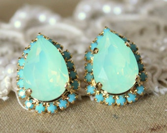 Mint Earrings, Swarovski Mint Opal Earrings, Bridesmaids Mint Opal Earrings,Bridal Mint Opal, Gift For Her, Mint Bridal Opal Stud Earrings