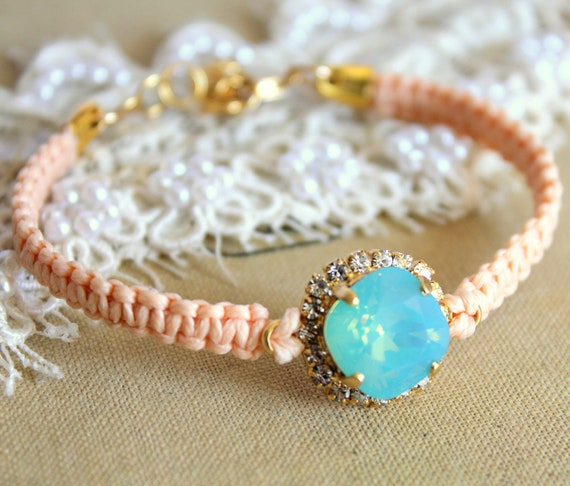 RESERVE Just for Vanessa Mint and peach  braided Friendship bracelet with real swarovski rhinestones