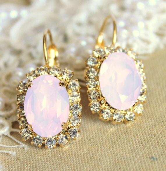 Crystal pink blush powder earring - 14k plated gold post earrings real swarovski rhinestones .