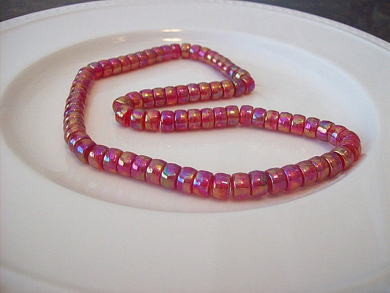 Red Pink Shimmer Rainbow Glass Crow 16inch Strand (BH148) 3 strands