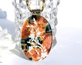 Opulence Fused Dichroic Glass Pendant Fused Glass Jewelry Fall Autumn Orange Black White (Item 10370-P)