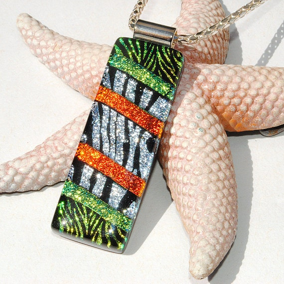 Wild, Safari, Animal Print, Fused Glass Jewelry, Long Dichroic Pendant, Tribal, Jungle, Zebra, Green Orange Silver Black (Item 10465-P)
