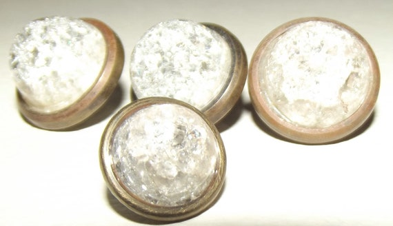 4 antique metal jewel buttons crackle glass centers