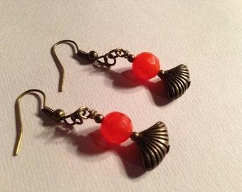 Orange Earrings - Brass Jewelry - Agate Gemstone Jewellery - Fashion - Fan - Wire Wrapped