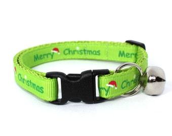 Green Merry Christmas Cat Collar Sale