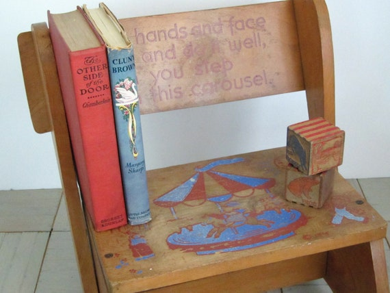 Vintage stool....wood.... ....carousel....blue & red