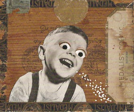 Original Collage Art on Wood (unique retro home decor made with vintage ephemera, OOAK) - Sugar High