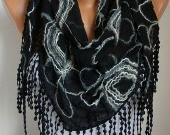 Black Cotton Embroidered Scarf, Soft, Bridal Shawl, Wedding Scarf,Formal Date night Scarf, Cowl Gift Ideas For Her Women Fashion Accessories