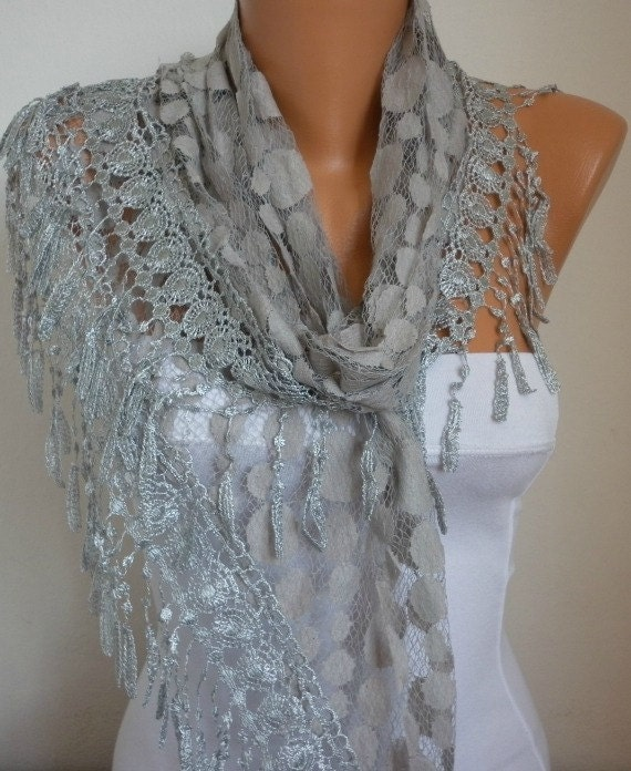 Lace Scarf -  scarf shawl -  - Silvery - Free scarf - Gray- fatwoman