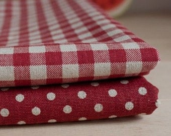 Cotton Linen Fabric Cloth -DIY Cloth Art Manual Cloth-Polka Dots Linen Fabric 53x18Inches