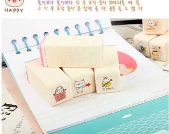 20 Kinds Korea DIY Decoden Woodiness Rubber Stamps-Cute Pig