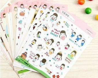 20 Sheets Korea Cute Girl Sticker Diary Stickers Set