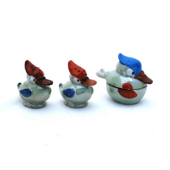 Antique Salt Pepper Condiment Set Ducks Lustreware Germany Vintage Collectible Home Decor