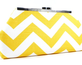 Clutch Purse - Yellow White Chevron Wedding Clutch, Bridesmaid Clutch