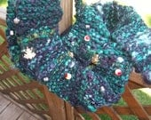 Knitted Green and Black Scarf Halloween OOAK Witches Brew - Ready to Ship