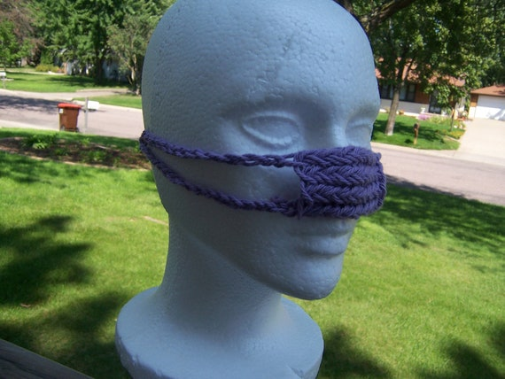 Knitted Purple Nose Warmer Cotton Litterbox Odor Guard Light Grape - Ready to Ship