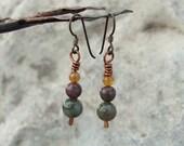 Copper and Fancy Jasper stone Earrings