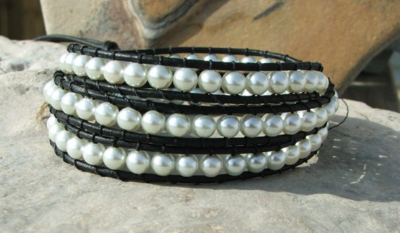 Custom listing for Courtnay Richards Handmade Leather Wrap Bracelet - Glass Pearl beads on Black leather