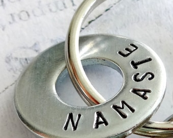 NAMASTE Hand Stamped Washer Key Chain