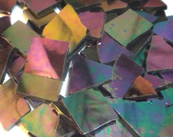 Stained Glass Mosaic Tiles - Iridescent Dark Black - 1/2 Pound Nipped