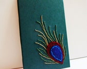 Mixed Media, Book Cover Art, Embroidery Peacock Feather