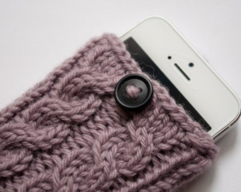 Smoky Lilac Double Cable Knit Phone Case (iPhone 3/4/4S/5/5S/5C/6/6+/7/7+)