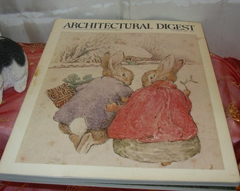 Beatrix Potter cover and article in Architectural Digest 1984 Magazine EASTER SALE PRICE and a free Rabit Stone Critter
