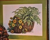 Retro Botanical Print 70's Framed Art Spider Plant Greens Golds Marigolds Plants Basket Green Mat