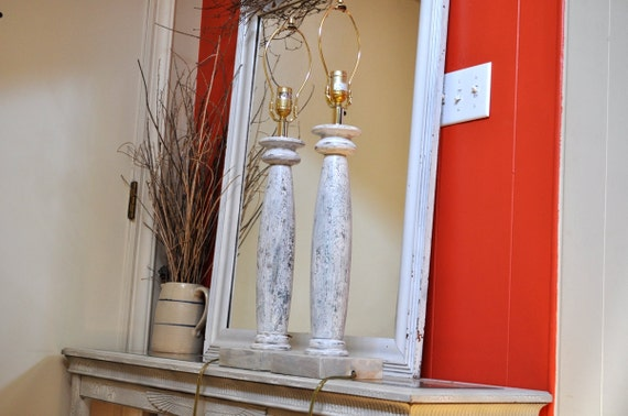 Hand Painted Lamps, Set of Two. Pair of Crackled Distressed Marbled Wood Living Room Lighting