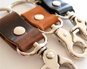 Mens Thick Leather Keychain, Chunky Lobster Clamp, Mens Gift, Boyfriends Gift