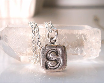 "Wax Seal Jewelry, Tiny, Personalized Custom Silver Initial  16"" Necklace,  Chubby Square, Monogram, Petite, Minimalist,  Jewellery"