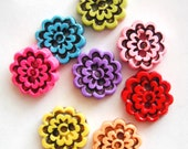 Button Molded Flowers handmade antiqued polymer clay buttons ( 5 )