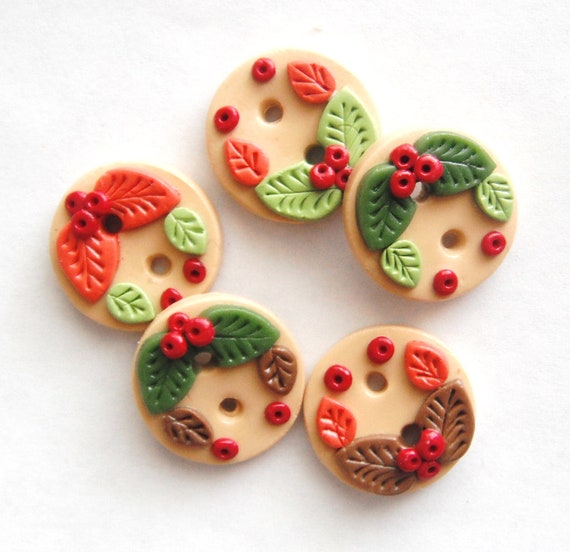 Button Tiny Leaves and Berries handmade polymer clay buttons ( 5 )