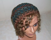 Variegated Earth Tones Fashion Beanie, Handmade Crochet in Soft Yarn