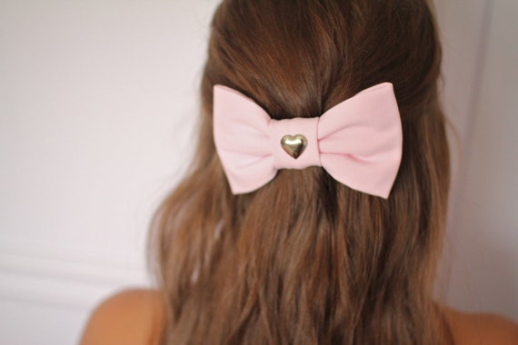 Pastel Pink Bow Hair Clip Barrette with Heart Stud in the Center