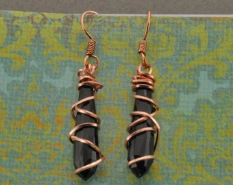 Handmade Czech Glass and Copper Earrings