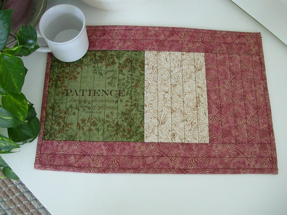 Quilted PlaceMat FRUIT of the SPIRIT, PATIENCE  Scripture Placemat  in Green Rust and Cream