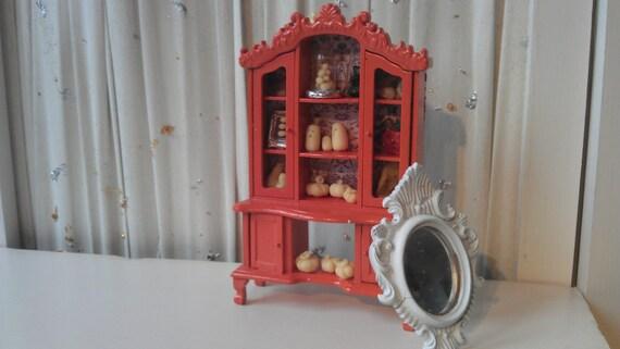Orange Halloween Curio Cabinet - 1 Inch Scale - Dollhouse Size
