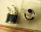 Two ornaments: clown and drum, vintage