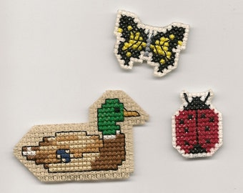 Cross Stitch, Duck, Lady Bug and Butterfly Magnets Finished Completed