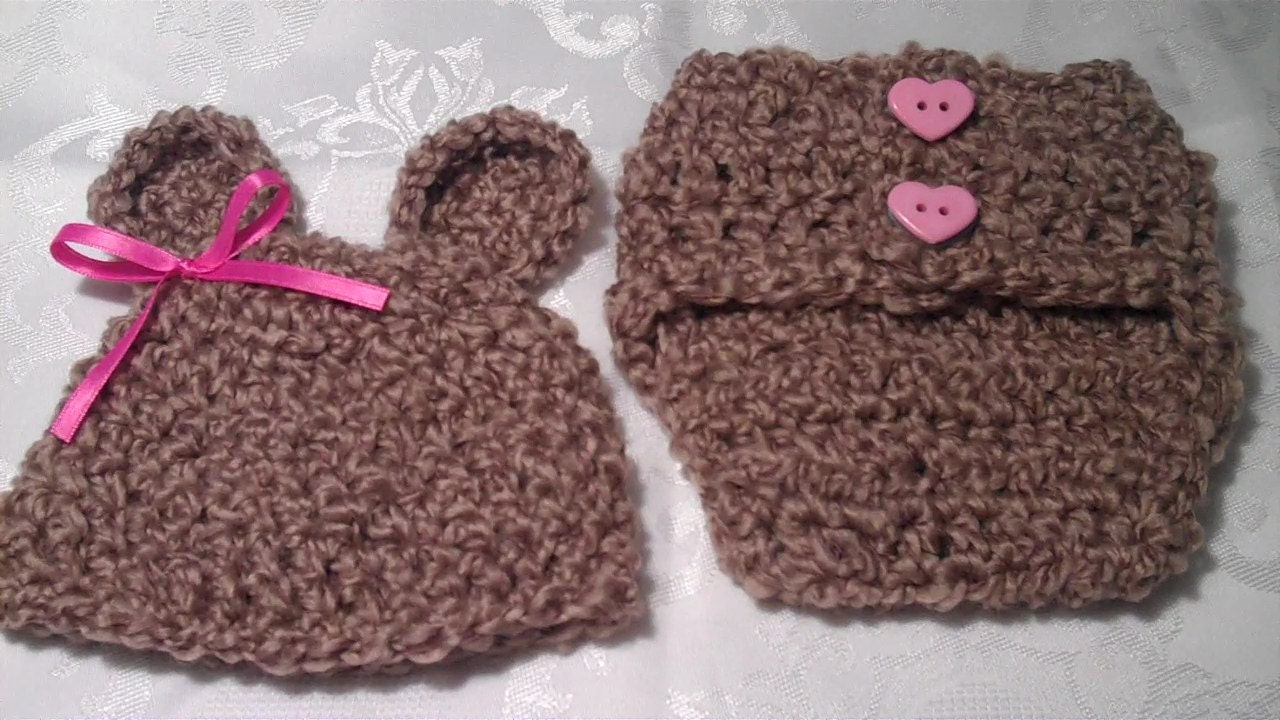 Crochet Pattern, Bear Hat and Diaper Cover Newborn Size ...